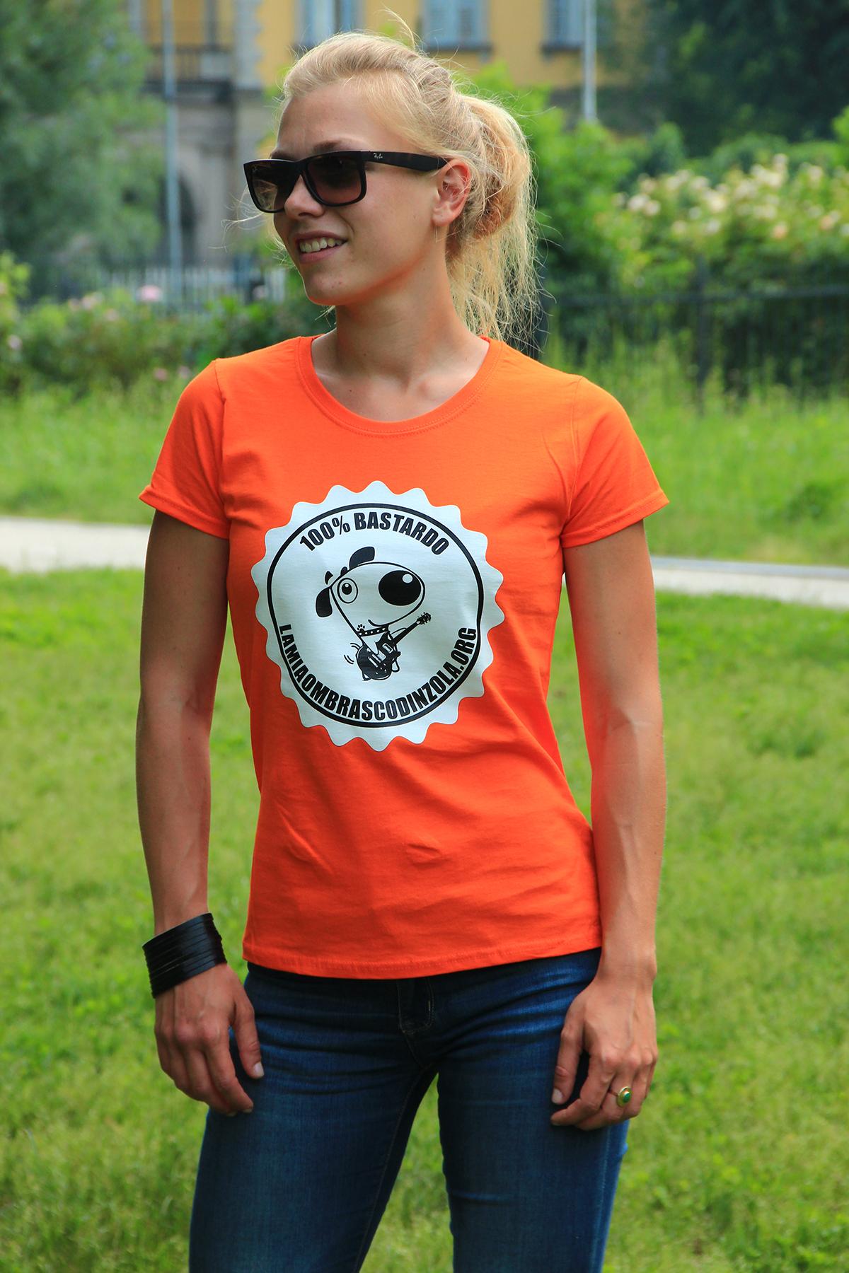 maglietta la mia ombra scodinzola donna arancio